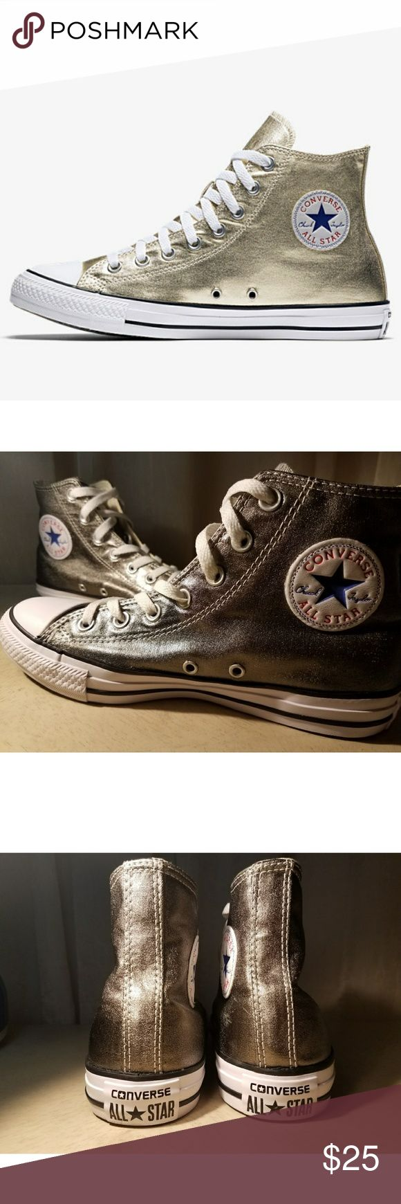 Converse Chuck Taylor  All Star Metallic High Top Unisex design in size Men-6. Worn once.  The Converse Chuck Taylor All Star Metallic dresses up your favorite Chucks in high-shine canvas for an elevated look wherever you go.  Created in 1917 as a non-skid basketball shoe, the All Star was originally promoted for its superior court performance by basketball mastermind Chuck Taylor. Converse Shoes Sneakers