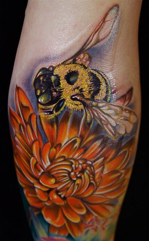 Awesome Bumble Bee Tattoo