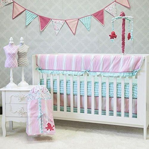 10 piece Crib Girls Bedding Set Cute Baby Pink Color Combination White Aqua Blue Polka dot Harlequin Stripe Adorable Eiffel Tower Pram Poodle