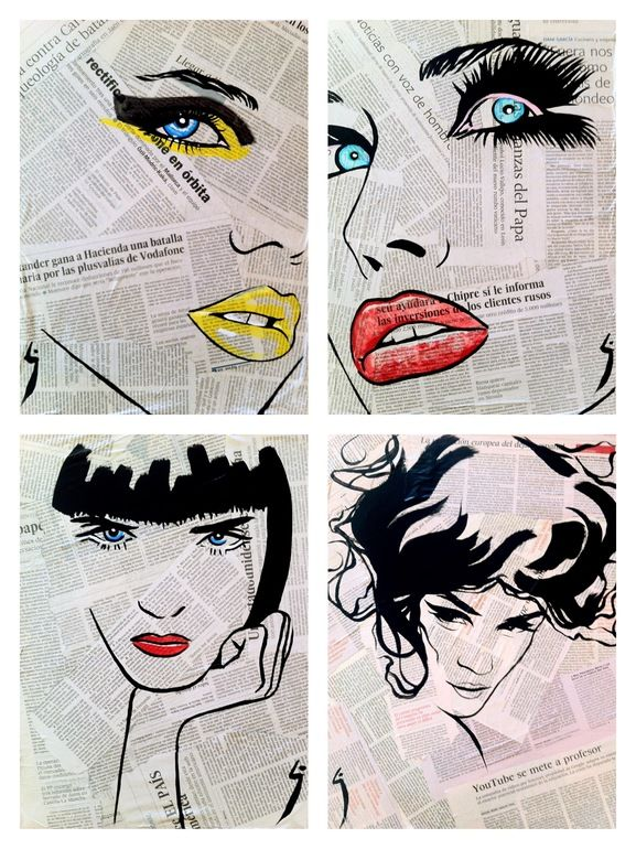 "Saatchi Online Artist: Conrad Jones; Paint 2013 Collage ""Fashion"".  Mixed media portraits?"