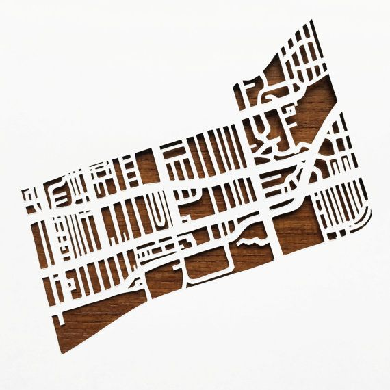 Hand cut paper map of Leslieville in Toronto ON 5x7 by CUTdesignsrt