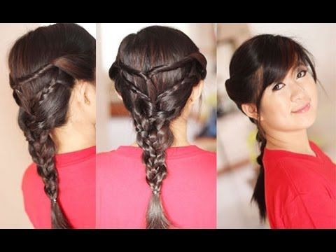 ▶ Back to School Hairstyle Twists Triple Braided Hairstyles for Layered Hair - YouTube