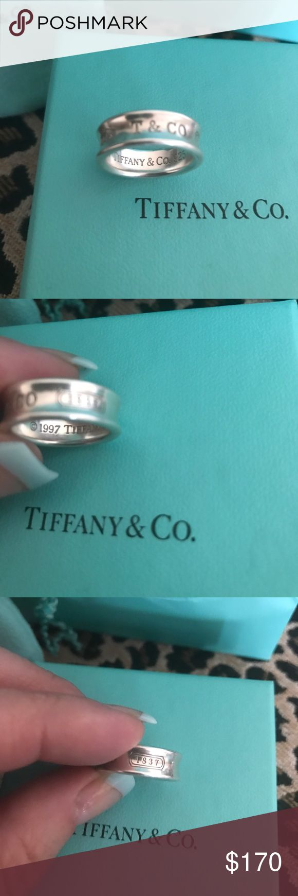 Magnificent 1837 stamped Tiffany and Company ring Authentic and very new!! It was a recent Mother's Day gift and I recently acquired it &  it fits too tight on me and now I would love to pass it on this way through Poshmark ..I hate to part with this one. Tiffanys soft silver and beautiful light color just feels magical on your hand. Size 6 and I have original box or pouch, case as I am a buyer and seller of authentic Tiffany jewelry stay posted more to come and make offers bundle etc…