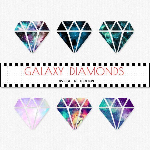 Glitter DIAMOND Clipart Galaxy 6 psc PNG - Instant Download {galaxy clipart, clip art, digital diamond, diamond clipart}