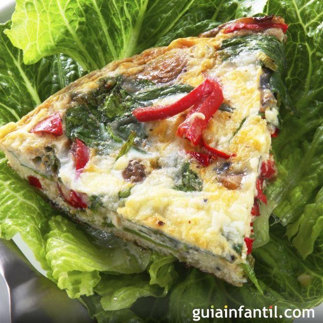 Tortilla de espinacas, pimiento y queso. Receta ligera y nutritiva