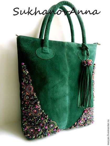 "Сумка ""Рапсодия"" - тёмно-зелёный,сумка замшевая,Сумка с вышивкой,вышивка камнями"