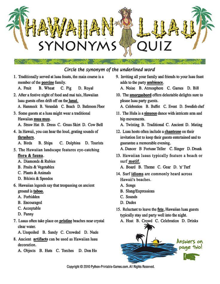 Luau Party Games: Luau Synonyms Quiz