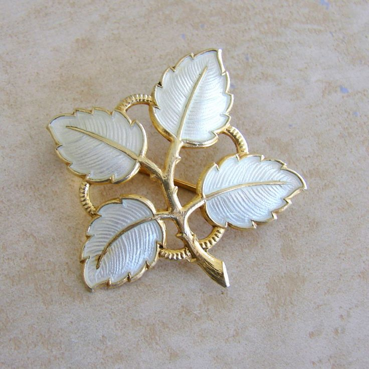 Aksel Holmsen Norway White Enamel Sterling Silver Vintage Leaf Leaves Brooch Pin Broach by Charmcrazey on Etsy