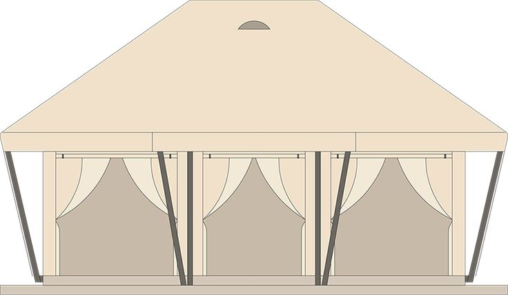 BOUTIQUE XL TENT  Overall sleeping places 6+2 Body length 6,4 m Total width 5,9 m