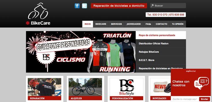 Página web Bike Care | Reparación de bicicletas a domicilio, alquiler, personalización, etc.