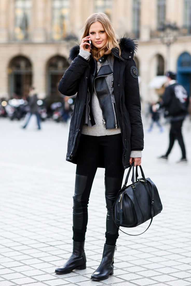 Keeping warm in layers of outerwear. #PFW