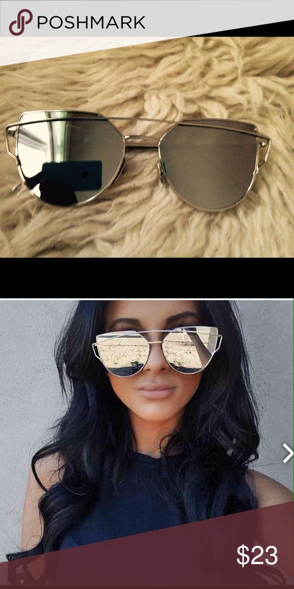 LUXURY OVERSIZED SILVER MIRROR SUNNIES SUNGLASSES LAST PAIR!! ✌️Cat eye Celebrity Style Sunglasses HAVE ROSE GOLD  AND OTHER COLORS!! Get ready for the summer season!! Break your banging Celebrity Sunglasses out, Guaranteed you will turn heads!! Suitable for Face Shape: Round, Long, Square, Oval Face   WILL  TAKE 2 DAYS TO SHIP!!!!  PLEASE SPECIFY HOW MANY PAIRS YOU NEED! THANK YOU Accessories Glasses