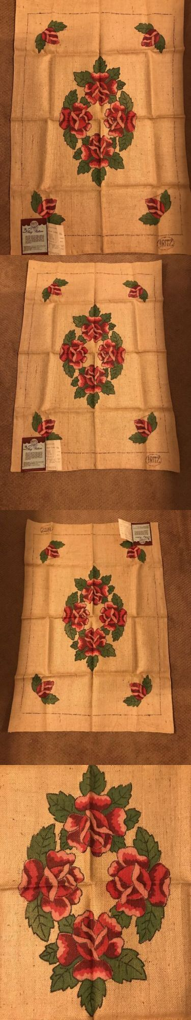Primitive Hooking Patterns 157031: Hand Tinted Hand Hooking Dritz Floral Rosebud Burlap Rug Pattern 27 X 40 Rectang -> BUY IT NOW ONLY: $50 on eBay!