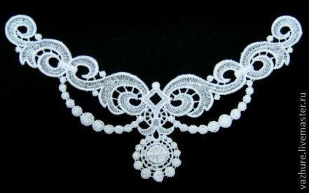 Купить Кружевной элемент №17. - белый, кружево, кружево для отделки, кружевное колье, кружевное украшение