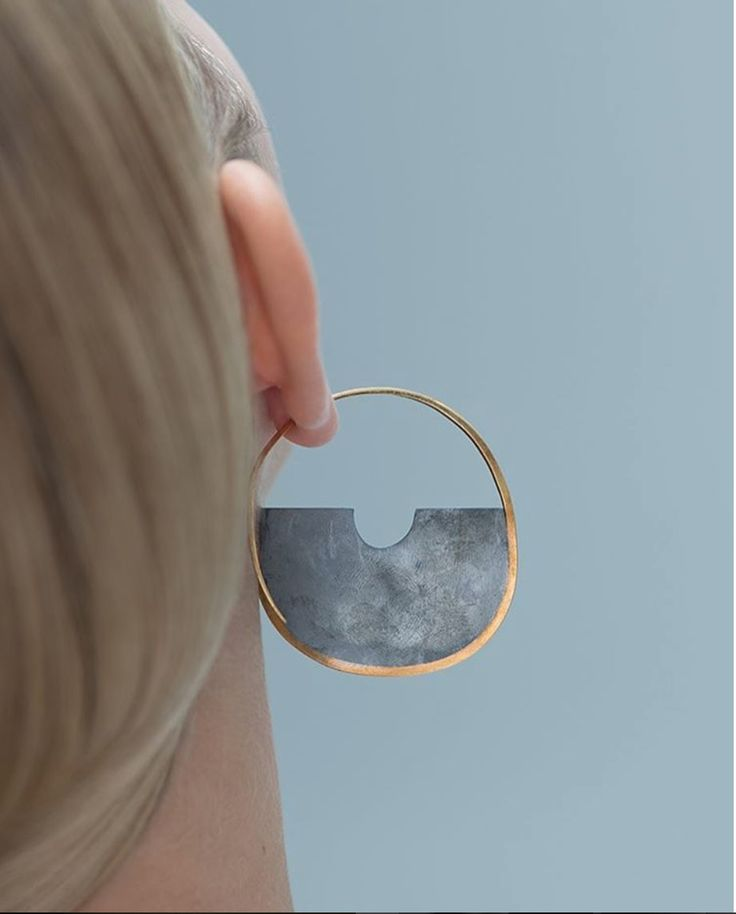 Antumbra earring Large , 18ct gold and black silver . Photography by Iringo Demeter for Wallpaper Magazine May 2017 Precious Index  £1100.00 per pair