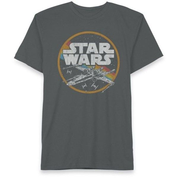 Hybrid™  Star Wars X-Wing Space Tee (41 BAM) ❤ liked on Polyvore featuring men's fashion, men's clothing, men's shirts, men's t-shirts, charcoal, mens graphic t shirts and mens wing collar shirt