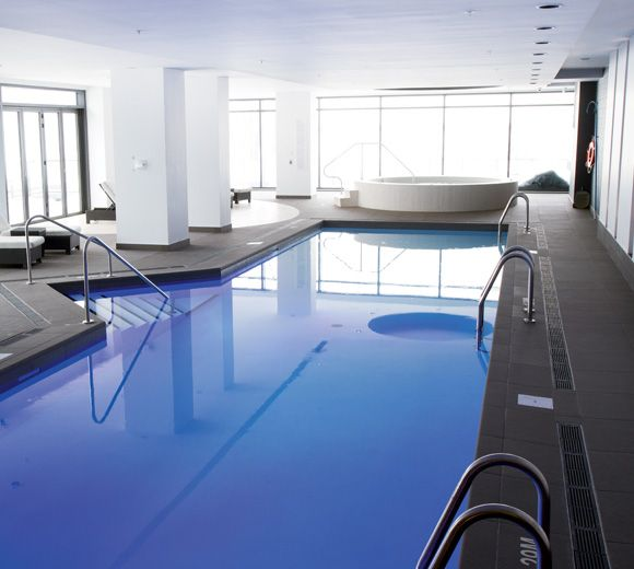 POINTE-NORD | Montreal | Architecture | Interior Design | Evolo 2 | Residential | Pool | Water | Indoor | Wood | Light | Tile