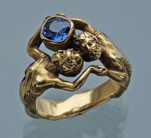 Attributed To Henry-Ernest Dabault, Zeus and Hera: Suberb Art Nouveau Ring