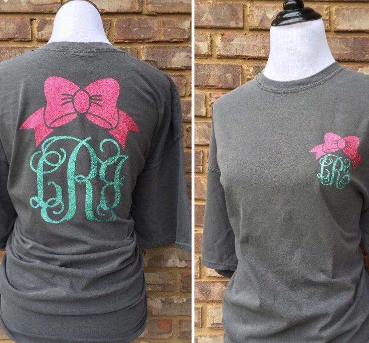 Glitter monogram tshirt l Bow l Personalized l Front & Back Design l Custom Shirt by ShoppingBlackSheep on Etsy