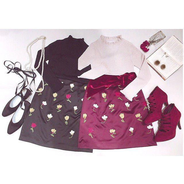 deicy_official:. コード刺繍のチューリップ柄が上品で可愛い ミニスカートです❤️ . 立体感があってコーディネートを華やかに 仕上げてくれます♡ . コードリップエンブロイダリースカート ・・・ ¥21,000+tax ・  #deicy#mecouture#deicynagoya#デイシー#ミークチュール#black#bordeaux #embroidery#tulip#coordinate#skirt#twins #autumn#fashion#cute#nagoyaparco#nagoya#parco#ナゴヤ#パルコ 2017/11/07 22:24:17