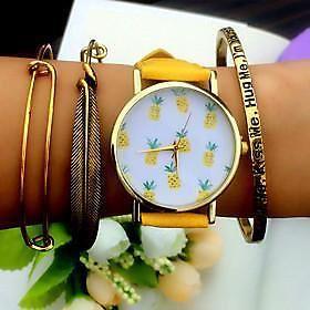 tropische vruchten ananas horloge, vintage stijl lederen