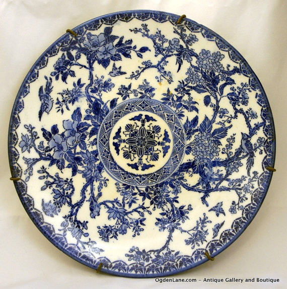 9 flow blue decorative wall plate with mounting by ogdenlane - Decorative Wall Plates