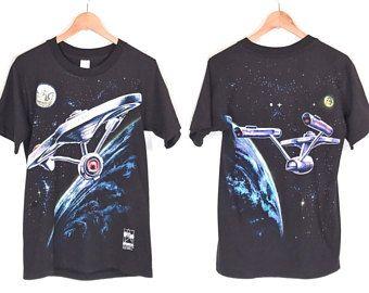 90s Star Trek 25th Anniversary T-Shirt. Vintage 1991 Star Trek U.S.S. Enterprise All Over Double Sided Print Tee.