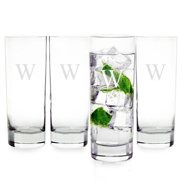 Cathy's Concepts 4-pc. Monogram Mojito Glass Set, White