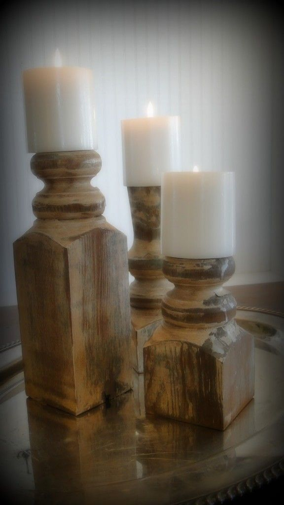 Fence post candle sticks. The link to the site telling you how to make these is here' Great idea and this would make a great Christmas gift or deck 'em out for Christmas decor!