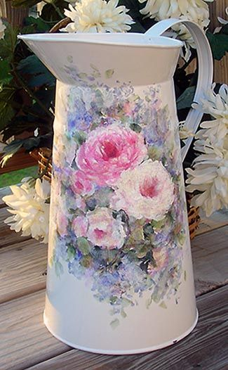 .just love this painted pitcher...roses...oh my.....je