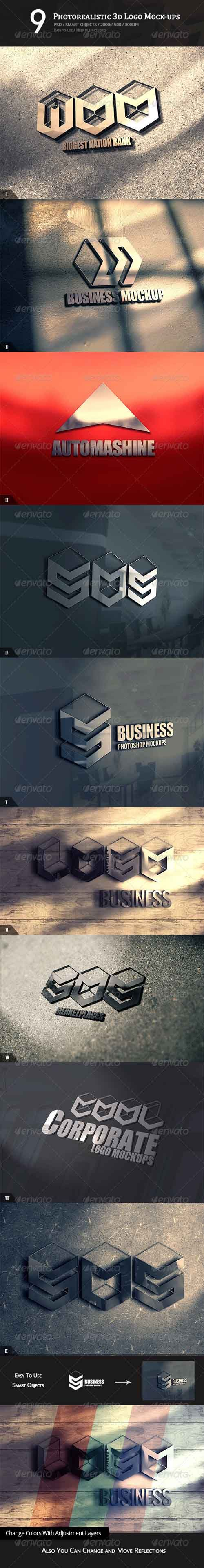 9 Photorealistic 3D Logo Mock-ups PSD » Free Hero Graphic Design: Vectors AEP Projects PSD Sources Web Templates – HeroGFX.com