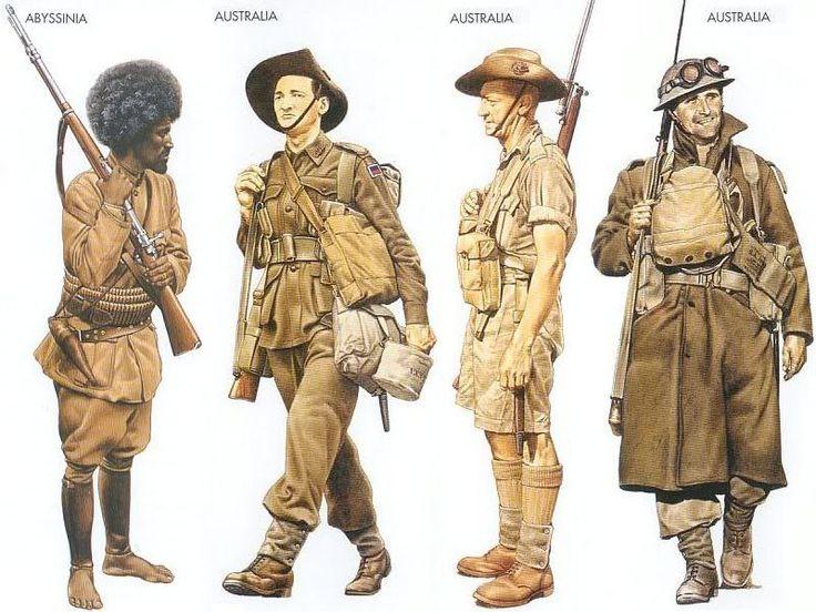 World War II Uniforms - Abyssinia - 1941, Ethiopia, Private, Abyssinian Patriot Army Australia - 1941 Jan., North Africa, Private, 6th Division Australia - 1941 Mar., Syria, Private, 7th Division Australia - 1941 May, Tobruk, Private, 9th Division