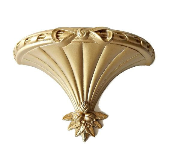 Syroco Sconce Wall Shelf Gold Tone Bed Crown by EclecticVintager