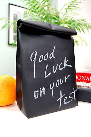 Blackboard Oil Cloth Lunchbag - An easy, fun way to make your kids lunch special. An easy-to-sew lunchbag. Write an important note to your kid, remind them of an upcoming test, let them know what's for lunch or just tell them how special they are. It easily wipes clean with a damp paper towel.