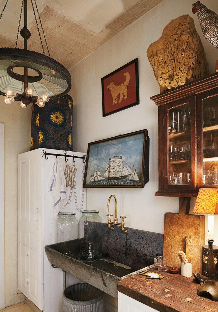 John Derian's NYC kitchen. Love the sink!