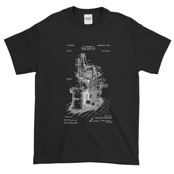 Bullard 1901 Vertical Turret Lathe Patent Short Sleeve T-shirt - Machinist Life