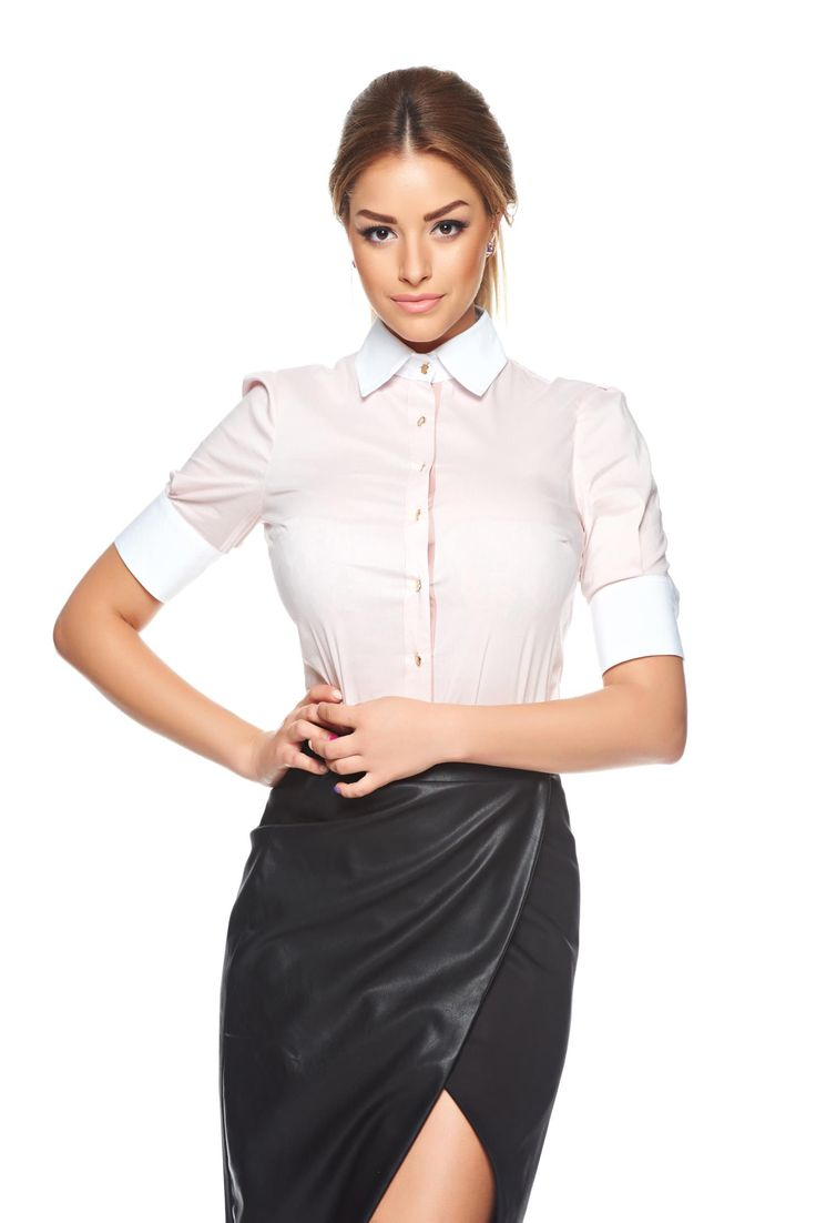 PrettyGirl Simpathy Rosa Shirt, women`s shirt, pointed collar, the sleeve is attached with a button, fastened with buttons, slightly elastic fabric