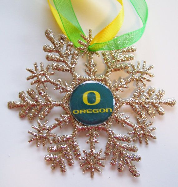 University Of Oregon DUCKS Glitter Snowflake by ZZsTeamTime