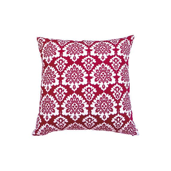 Red And White Cushion Cover Red White Cotton by MirraDesignStudio