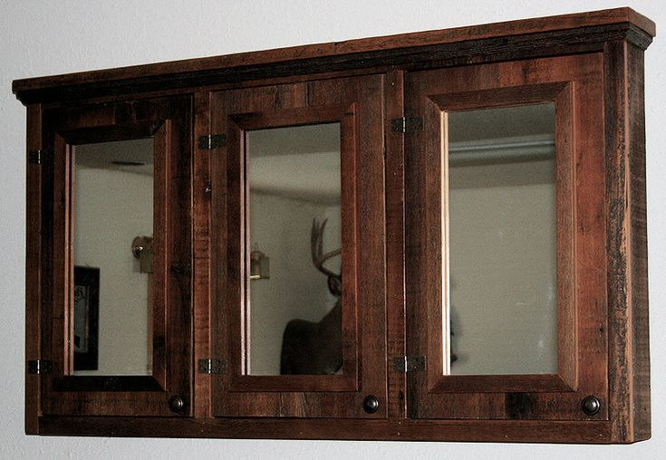 Barn Wood Triple Mirror Medicine Cabinet — Barn Wood Furniture - Rustic Furniture - Log Furniture By Vienna Woodworks