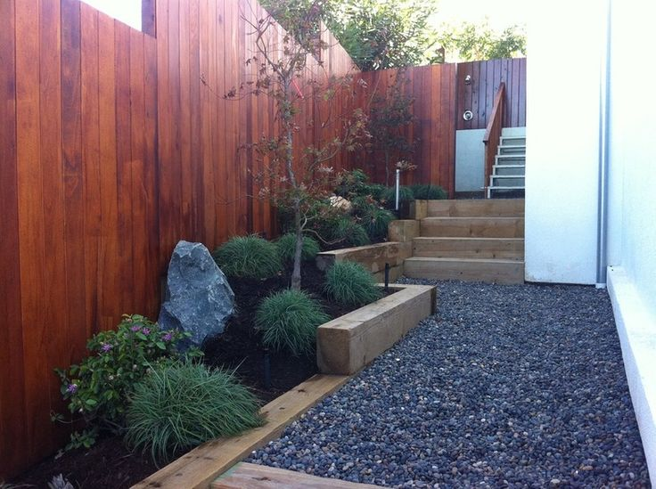 Modern Side Yard With Angled Planters, Gravel Path And Feature Rock (by  Jodie Cook Landscape Design).
