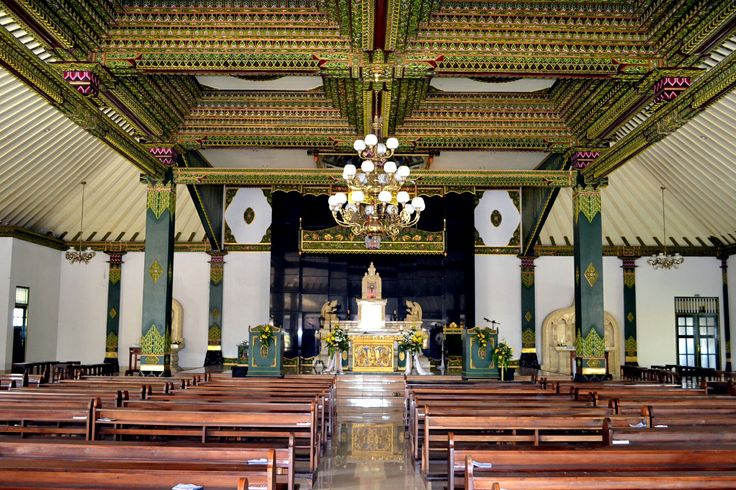 The Sacred Heart of Jesus Church, traditional old Javanese style interior design...