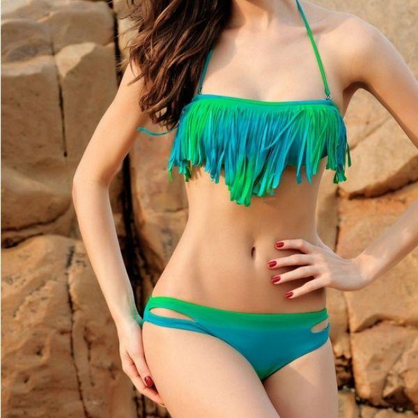 Womens Two-Piece Swimsuit, 2014 New Design Bikini, Green