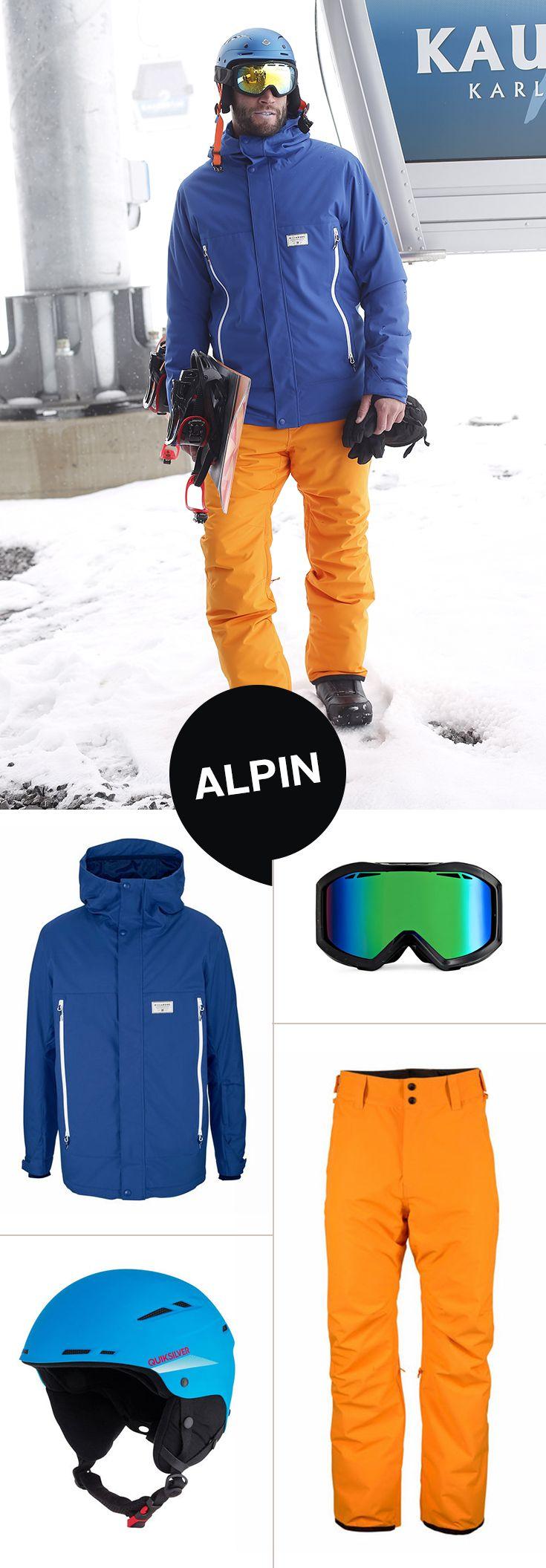 Ob sportlich ambitioniert oder ganz gemütlich am Hang – mit diesem Outfit bist du für deinen Skiurlaub optimal ausgerüstet: Jacke und Skihose halten dich schön warm und beweglich, der Helm und die Goggle schützen den Kopf und die Augen.