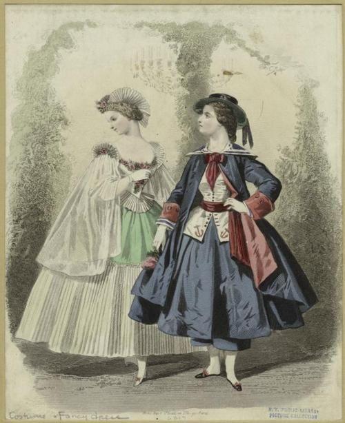Two fancy dress costumes, including an adorable female sailor, from Les dames cosmopolites: album de costumes aristocratiques et artistiques, an 1845 compilation of fancy dress fashion plates.