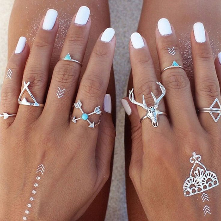 AIWGX 7 Pcs/Set Boho Ethnic Turquoise Vintage Antique Silver Arrow Antler Midi Knuckle Ring for Women