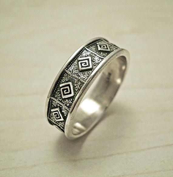 Unique wedding band ring.Mens wedding band ring,Greek key band ring,Sterling silver mens ring,mens silver ring,Meander silver ring.