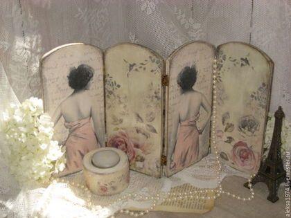 """Мебель ручной работы. Ярмарка Мастеров - ручная работа. Купить Мини-ширма """" Зеркало ..."""". Handmade. Бледно-розовый"""