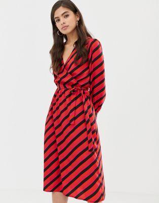 dda01311ac06 Influence wrap midi dress in diagonal stripe in 2019 | Clothes ...