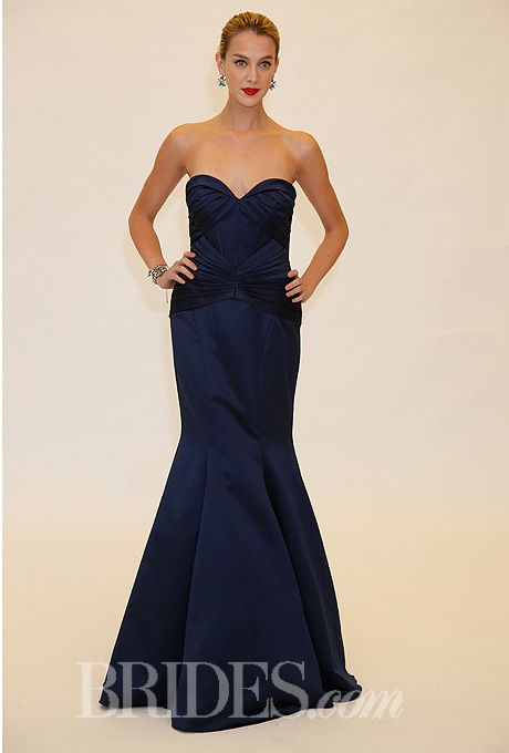 Brides.com: Truly Zac Posen - Spring 2014 Style ZP285036, strapless satin mermaid bridesmaid dress with a pleated sweetheart neckline, Truly Zac Posen for David's BridalPhoto: John Aquino